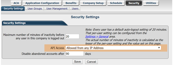 Example of the Security Settings page in AllPay